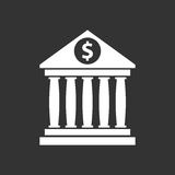 Bank building icon with dollar sign in flat style. Royalty Free Stock Image