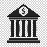 Bank building icon with dollar sign in flat style. Museum vector Royalty Free Stock Image
