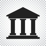 Bank building icon in flat style. Museum vector illustration on. Isolated background. Simple business concept pictogram Stock Photography