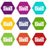 Bank building icon set color hexahedron Royalty Free Stock Photo