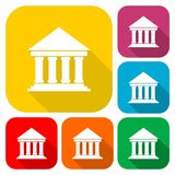 Bank building icons, Court building icons set with long shadow. Vector icon Royalty Free Stock Photo