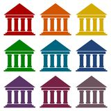 Bank building icons, Court building icons set Stock Images