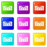 Bank building icons 9 set. Bank building icons of 9 color set isolated vector illustration Stock Photography