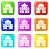 Bank building icons 9 set. Bank building icons of 9 color set isolated vector illustration Stock Images