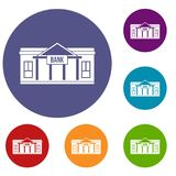 Bank building icons set. In flat circle reb, blue and green color for web Royalty Free Stock Photos