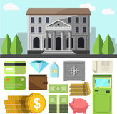 Bank building and icons set. Vector bank building and business icons set. Flat design elements of finance banking symbol: credit cards and wallet, cash money Stock Images