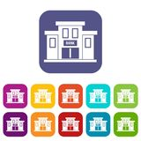 Bank building icons set. Vector illustration in flat style in colors red, blue, green, and other Stock Image