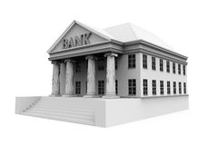 Bank Building Illustration. Isolated on white background. 3D render Stock Image