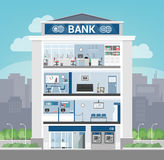 Bank building. Interior with office, front desk, waiting room, entrance and self service atm, banking and finance concept stock illustration