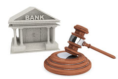 Bank Building and judges court gavel Stock Images