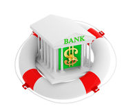 Bank building in life buoy Royalty Free Stock Image