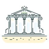Bank building line art style vector icon. Doodle bank institution Royalty Free Stock Image