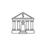 Bank building line icon, banking house. Vector graphics, a linear pattern on a white background, eps 10 Royalty Free Stock Images