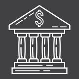 Bank building line icon, business and finance Royalty Free Stock Photos