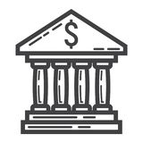 Bank building line icon, business and finance Royalty Free Stock Image