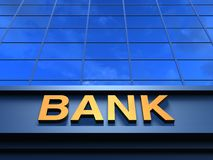 Bank building. Modern building with an inscription Bank on a facade Stock Images