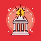 Bank building and money design. Bank building with money coin over red background, colorful design vector illustration Stock Images