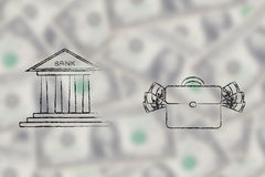 Bank building next to bag with cash illustration Stock Images