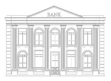 Bank building outline icon isolated. Elegant thin line style drawing design. Royalty Free Stock Photography