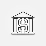 Bank building outline icon Royalty Free Stock Photo