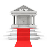 Bank Building over Winner Podium with Red Carpet. 3d Rendering. Bank Building over Winner Podium with Red Carpet on a white background. 3d Rendering Stock Photography
