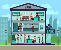 Bank building with people and bank employees in the offices. banking and finance vector concept. Interior of building bank, illustration of department bank Stock Images