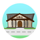 Bank building road flat style background concept.  Stock Photo