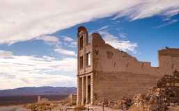 Bank Building Ruins of Rhyolite Nevada Death Valley Ghost Town Stock Image