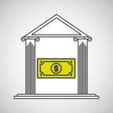 Bank building save money dollar. Vector illustration eps 10 Stock Photos
