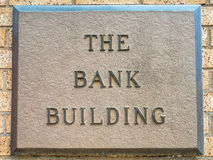 The Bank Building Sign Royalty Free Stock Photos