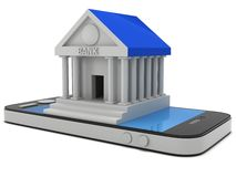 Bank building on smartphone. Concept digital payment. 3d render isolated on white Royalty Free Stock Photo