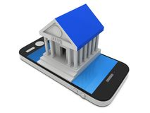 Bank building on smartphone. Concept digital payment. 3d render isolated on white Stock Image