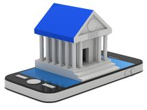 Bank building on smartphone. Concept digital payment. 3d render isolated on white Stock Images