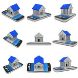 Bank building on smartphone. Concept digital payment set. 3d render isolated on white Royalty Free Stock Image