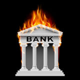 Bank building symbol. Burning Building bank. Illustration on black background Royalty Free Stock Image