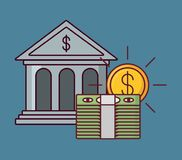 Bank building and money design. Bank building with wad of bills and coin over blue background, colorful design vector illustration Royalty Free Stock Photo