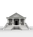 Bank building  on white in classic style render Stock Images