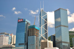 Bank buildings in business center of Hongkong Stock Photography