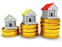 Bank buildings on stack of coins. 3D render icon  on white. Real estate, rent, finance and credit concept Stock Photography