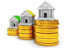 Bank buildings on stack of coins. 3D render icon  on white. Real estate, rent, finance and credit concept Stock Photo