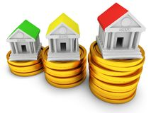 Bank buildings on stack of coins. Royalty Free Stock Photography