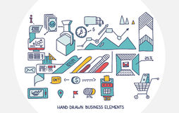 Bank business finance analytics earnings hand draw doodle elements.  Stock Photography