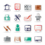 Bank, business and finance icons. Icon set Royalty Free Stock Photos