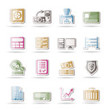 Bank, business, finance and office icons Stock Images