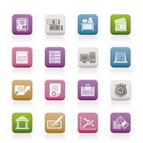 Bank, business, finance and office icons Stock Photos