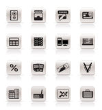 Bank, business, finance and office icons Royalty Free Stock Image