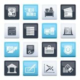 Bank, business, finance and office icons over color background. Vector icon set stock illustration