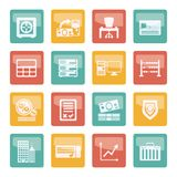 Bank, business, finance and office icons over colored background. Vector icon set vector illustration