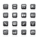 Bank, business, finance and office icons Stock Image