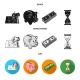 Bank, business schedule, bundle of notes, time money. Money and Finance set collection icons in black, flat, monochrome. Style vector symbol stock illustration Royalty Free Stock Image